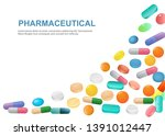 assortment of pills on a white... | Shutterstock .eps vector #1391012447