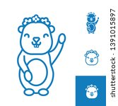linear gopher icon with flower...