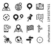 navigation and gps icon set ...   Shutterstock .eps vector #1391037431