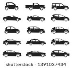 car icon side view set  black... | Shutterstock .eps vector #1391037434