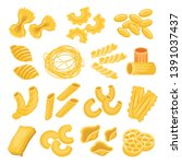 pasta types set  italian... | Shutterstock .eps vector #1391037437