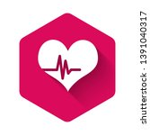 white heart rate icon isolated... | Shutterstock .eps vector #1391040317
