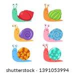 Cute Cartoon Snail Vector Set...
