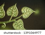 art of golden bodhi leaves on... | Shutterstock . vector #1391064977