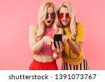 surprised blonde twins in... | Shutterstock . vector #1391073767