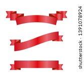 red ribbons set. vector design... | Shutterstock .eps vector #1391078924