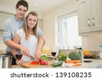 couple cooking together in... | Shutterstock . vector #139108235