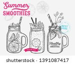 drink menu smoothie... | Shutterstock .eps vector #1391087417