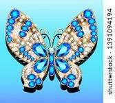 jewelry gold butterfly brooch... | Shutterstock .eps vector #1391094194