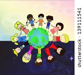 children of different races... | Shutterstock .eps vector #139111541