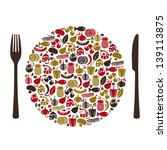 food theme abstract vector | Shutterstock .eps vector #139113875