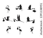 stork and baby set black on... | Shutterstock .eps vector #1391138951