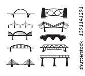 bridge icon set on white... | Shutterstock .eps vector #1391141291