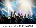 raised hands in honor of a... | Shutterstock . vector #1391144081