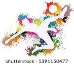 soccer player kicks the ball ...   Shutterstock .eps vector #1391150477