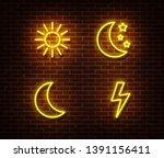 neon weather sign vector...   Shutterstock .eps vector #1391156411