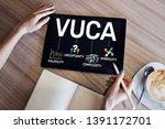 vuca world concept on screen.... | Shutterstock . vector #1391172701