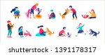 Stock vector vector illustration set of children with cats and dog happy funny kids playing love and taking 1391178317