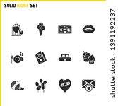 valentine icons set with vinyl  ...