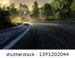 racetrack in the sunset with... | Shutterstock . vector #1391202044