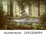 road biker on a forest street | Shutterstock . vector #1391206094