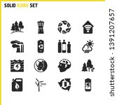ecology icons set with water...