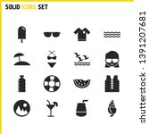 sunny icons set with sunglasses ...