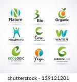 vector green ecology alphabet   ... | Shutterstock .eps vector #139121201