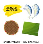 steamed mackerel and leaf... | Shutterstock .eps vector #1391266061