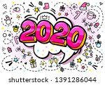 2020 new year. pink numbers... | Shutterstock .eps vector #1391286044