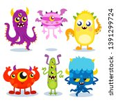 collection of colorful funny... | Shutterstock .eps vector #1391299724