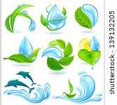 water and green nature symbols... | Shutterstock .eps vector #139132205