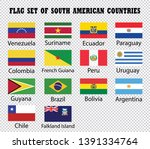 south american countries flags... | Shutterstock .eps vector #1391334764