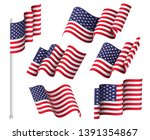 usa flags. set of six wavy... | Shutterstock .eps vector #1391354867