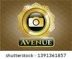 gold shiny emblem with photo...   Shutterstock .eps vector #1391361857