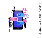 vector illustration with sms... | Shutterstock .eps vector #1391363051