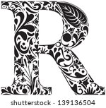 Floral Initial Capital Letter R