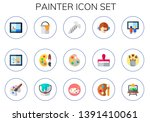 painter icon set. 15 flat... | Shutterstock .eps vector #1391410061