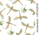 Stock photo watercolor seamless pattern of dragonflies and leaves perfect for design of cards packages 1391418767