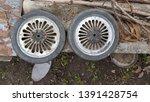 obsolete cart metal wheels top... | Shutterstock . vector #1391428754