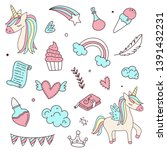 unicorn and magic doodles. cute ... | Shutterstock .eps vector #1391432231