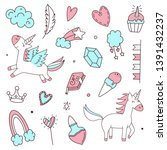 unicorn and magic doodles. cute ... | Shutterstock .eps vector #1391432237
