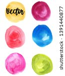 set of watercolor stain. spots... | Shutterstock .eps vector #1391440877