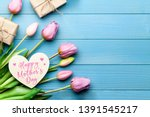 happy mothers day with tulips ... | Shutterstock . vector #1391545217