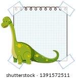 a dinosaur on note template... | Shutterstock .eps vector #1391572511