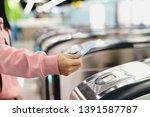woman hand scanning train...   Shutterstock . vector #1391587787