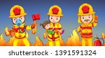 firefighter helping a girl... | Shutterstock .eps vector #1391591324