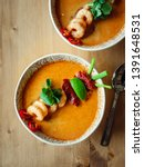 Stock photo tom yam kong ready to eat tom yum soup with shrimps on wooden table popular spicy thai dish tom 1391648531