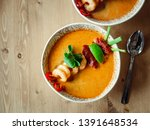 Stock photo tom yam kong ready to eat tom yum soup with shrimps on wooden table popular spicy thai dish tom 1391648534