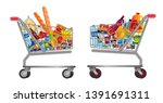 set of isolated shopping... | Shutterstock .eps vector #1391691311